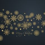 Abstract golden Merry Christmas background with snowflakes Stock Image