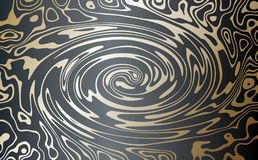 Vector. Gold on a dark background. Abstract image of marble. A swirling stream of gold metal. stock illustration