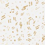 Abstract golden music notes seamless pattern. Background vector illustration for your design Stock Image