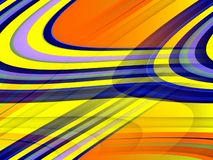 Gold yellow orange blue fluid lines background, abstract colorful geometries. Abstract golden orange blue yellow lines, lights, contrasting forms and sparkling vector illustration