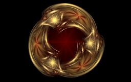 Abstract golden ornament in the form of three drops intersecting on a background of a dark red star on a black background.  Royalty Free Stock Image