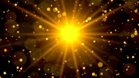 Abstract golden particles background with sunburst. 4k