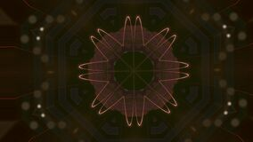 Abstract golden pattern actively generating new impulses from source of power and then giving shockwave effect isolated