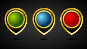 Abstract golden pointer badges video animation stock footage
