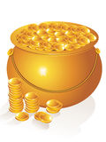 Abstract golden pot with money coins Stock Photography