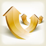 Abstract Golden Rising Arrows Royalty Free Stock Photography