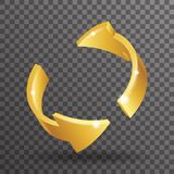 Abstract golden rotation arrows 3d design elements transperent background vector illustration. Abstract golden rotation arrows design 3d elements transperent Royalty Free Stock Images