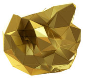 Abstract golden shape isolated on white. 3D illustration royalty free illustration