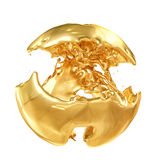 Abstract Golden Shape, Melt Gold Isolated on White background. 3d illustration Royalty Free Stock Image