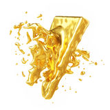 Abstract Golden Shape, Melt Gold Isolated on White background Royalty Free Stock Image