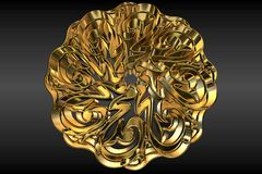 Abstract golden sign or symbol. 3d illustration of abstract golden sign or symbol with black background Stock Photography