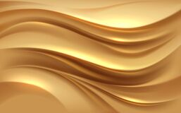 Free Abstract Golden Silk Waves Background Stock Photography - 194064072