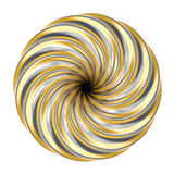 Abstract golden and silver spiral decoration. 3D. Render illustration  on white background Stock Photo
