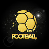 Abstract golden soccer ball. Football championship banner. Vector illustration of abstract golden soccer ball for your design Stock Photography