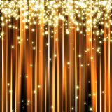 Abstract golden sparkle background. Sparkle glitter stars on golden stripe background Stock Image