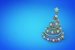 Abstract golden spiral christmas tree with dotted and striped balls. 3d render illustration on blue background. Holiday greeting card royalty free illustration