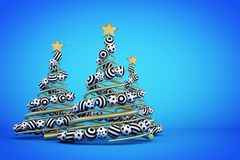 Abstract golden spiral christmas tree with dotted and striped balls. 3d render illustration on blue background. Holiday greeting card stock illustration