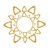 Abstract golden sun icon. Decorative round frames. Royalty Free Stock Photo