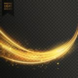 Abstract golden transparent light wavy streak with sparkle. Vector stock illustration