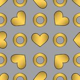 Abstract golden vector seamless pattern for surface design, wrapping paper, textile, wallpaper, phone case print, fabric. Hand drawn hearts and circles royalty free illustration