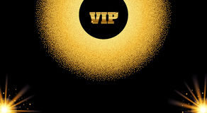 Abstract golden VIP invitation card with glow light effect. Royalty Free Stock Photos