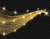 Abstract golden wave design element with shine effect on a dark background. Stars, luminous points. illustration Stock Image