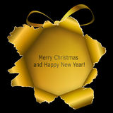 Abstract golden Xmas ball. Made ​​of torn paper on black background. Vector eps10 illustration stock illustration
