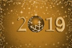 Abstract golden Xmas ball with year 2019 against stars, snow and. Snowflakes on gold background for Christmas day and Happy New Year concept vector illustration