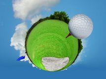 Abstract golf ball on tee. With cloud and blue sky Royalty Free Stock Image