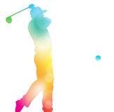 Abstract Golf Player Driving in Beautiful Summer Haze. Colorful abstract illustration of a Golfer driving high to hit a hole in one in this Championship Stock Photos