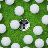 Abstract golf sport background of golf ball and golf hole on green grass background. Royalty Free Stock Images