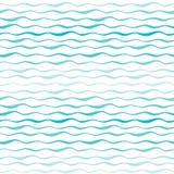 Abstract golven naadloos patroon De golvende lijnen van overzees of oceaan overhandigen getrokken achtergrond Stock Foto