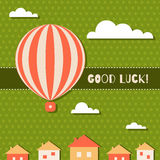 Abstract Good Luck Card With Hot Air Balloon, Clouds, Houses And Three Leaf Clovers Pattern Background. Abstract Good Luck Card With Hot Air Balloon, White Stock Photo