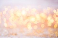 Abstract goud bokeh Kerstmis en de Nieuwe achtergrond van het jaarthema Royalty-vrije Stock Fotografie
