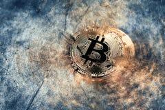 Abstract gouden Crypto van het bitcoinmuntstuk Muntconcept als achtergrond Stock Fotografie