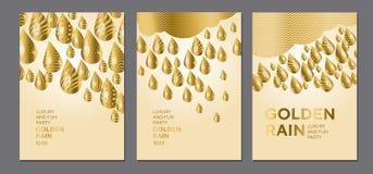 Abstract gouden dalingspatroon voor oppervlakteontwerp Stock Afbeelding