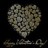 Abstract gouden hart. De dag van de valentijnskaart begroet Stock Afbeelding