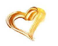 Abstract gouden hart met acrylverfborstel op witte achtergrond Royalty-vrije Stock Foto