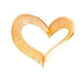 Abstract gouden hart met acrylverfborstel op witte achtergrond met plaats voor uw tekst Stock Foto