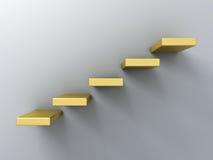 Abstract gouden treden of stappenconcept op witte muurachtergrond met schaduw Stock Afbeeldingen
