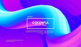 Colorful Wave Gradient Shape. Abstract 3d Background. Abstract Gradient Background with Color Liquid Shape. 3d Vector Illustration. Modern Wave Flow Design royalty free illustration