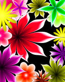 Abstract gradient flowers. On a black background royalty free illustration