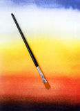 Abstract graduated watercolor background & brush stock photography