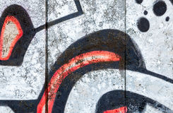 Abstract graffiti fragment on old gray concrete wall Royalty Free Stock Photo