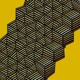 Abstract graffiti soft spray orange yellow cubic shape on yellow Royalty Free Stock Image