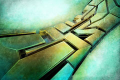 Abstract graffiti style. 3D Abstract Graffiti in hard metal style Stock Illustration