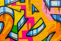 Abstract graffiti wall painting. Graffiti pattern on brick wall, Brick Lane, London, UK Royalty Free Stock Images