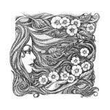 Abstract grafisch beeld op de themameisjes, bloemen, bloemenorn royalty-vrije illustratie