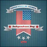Abstract grafisch ontwerp met sterren op nationale vlag voor four Juli, Amerikaanse Onafhankelijkheidsdag Stock Foto