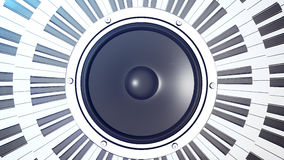 Abstract grand piano keys in a circle over an audio monitor Stock Photography